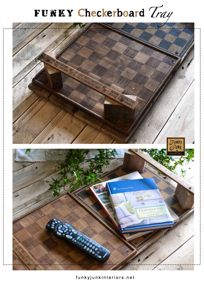 Funky checkerboard tray with vintage yardstick handles, via FunkyJunkInteriors.net