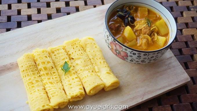 Resepi Roti Jala Cheese Roll Kari Ayam tanpa santan