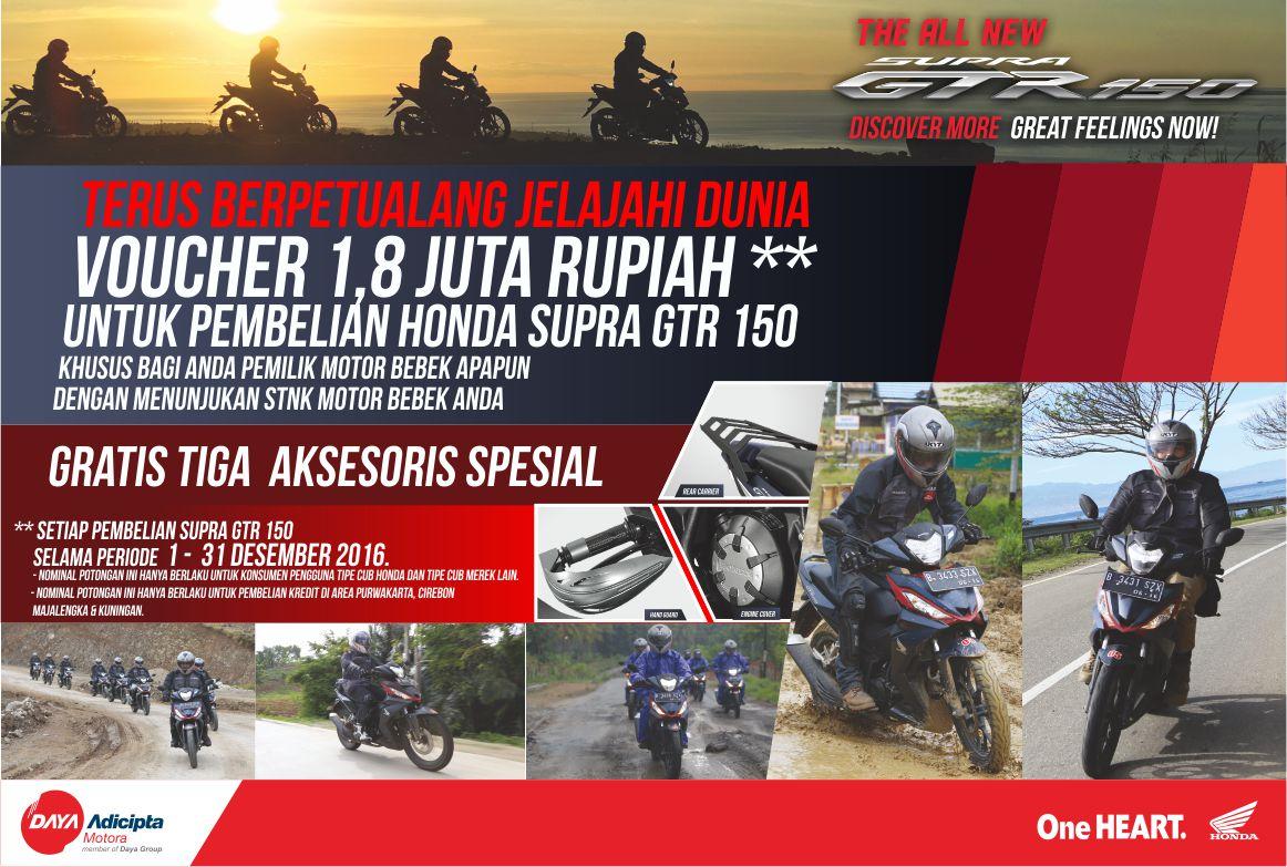 Spesial Diskon dan Gratis Aksesories Supra GTR150 Dealer Honda Cirebon Sejahtera Mulia Motor
