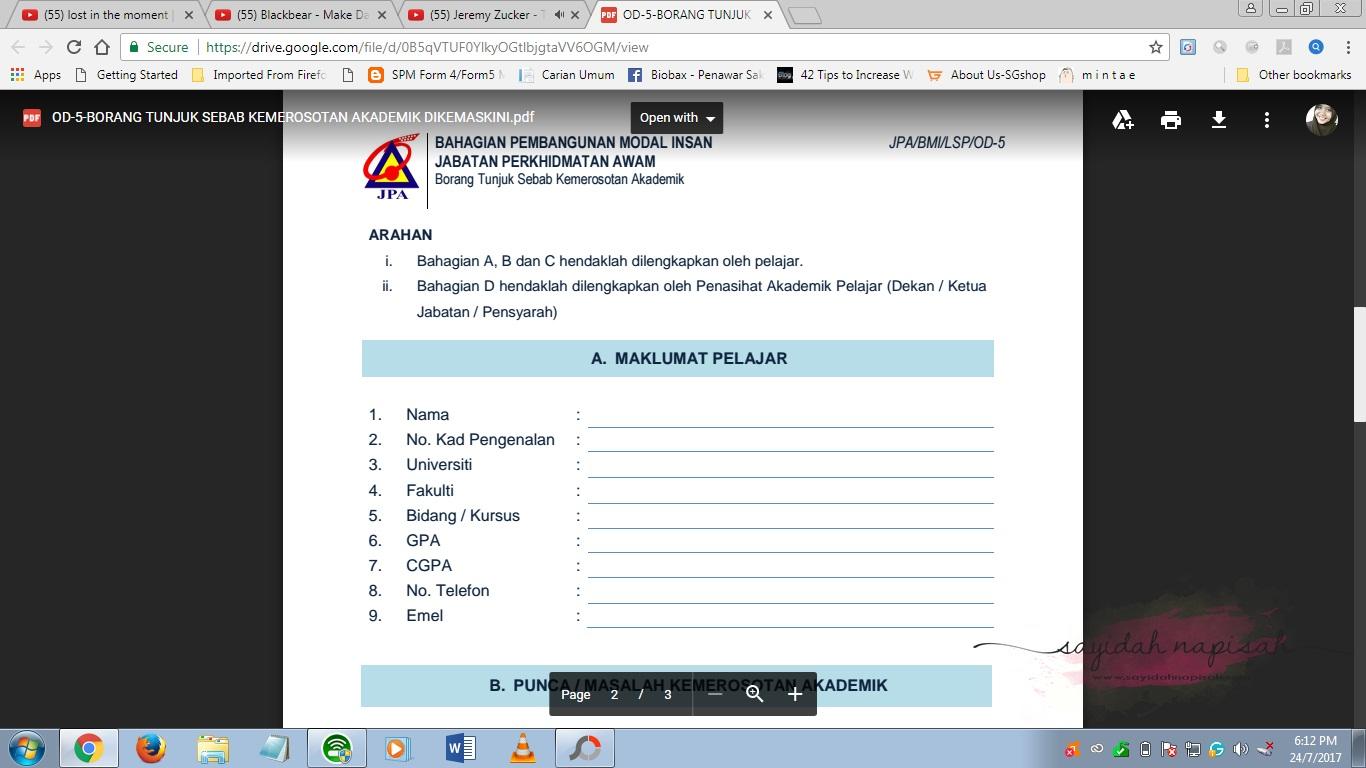 Borang Tunjuk Sebab Kemerosotan Akademik JPA