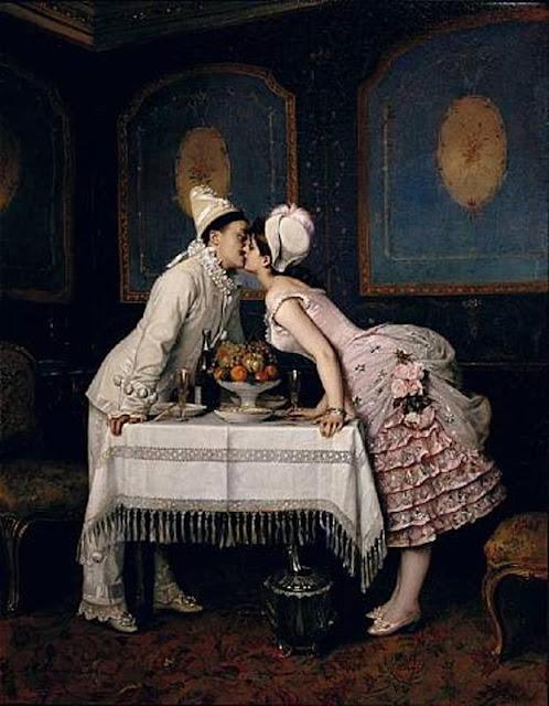 Auguste Toulmouche, Liebe, unerfüllte Erwartungen, Enttäuschung, Gefühle, Verstand, Bedingungen, leid, kontrolle, zukunft, gegenwart, was verspricht ein kuss, das glück sucht das weite, fliehen, beziehung, verliebtsein, partnerschaft, unglücklich, paintings, malerei, bild, poetische Art