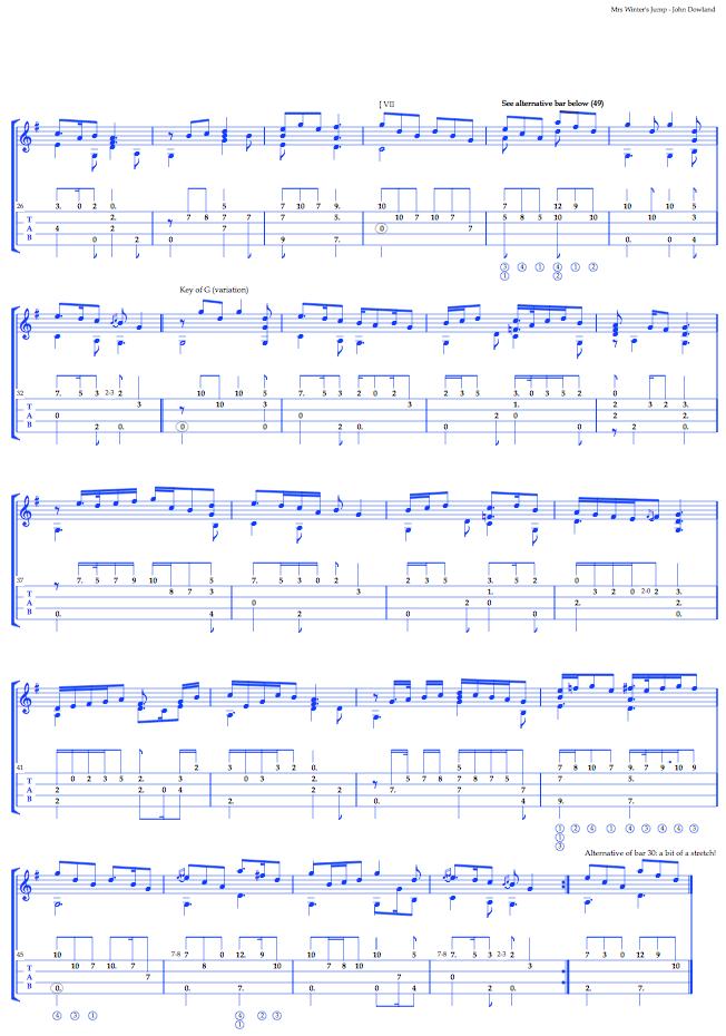Music tablature Dowland Mrs Winter's jump