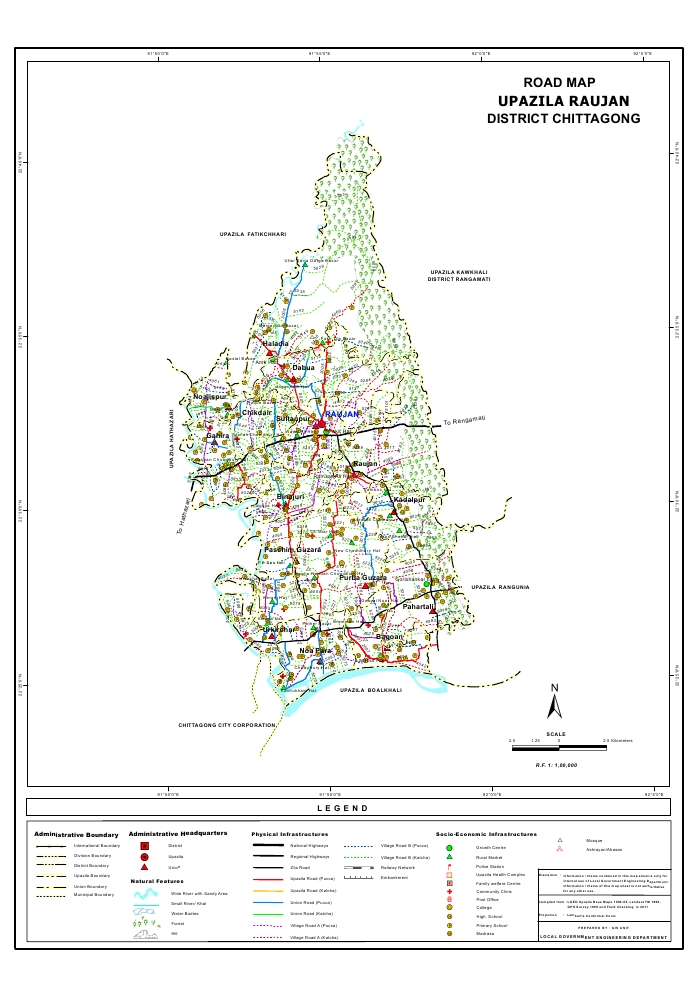 Raozan Upazila Road Map Chittagong District Bangladesh