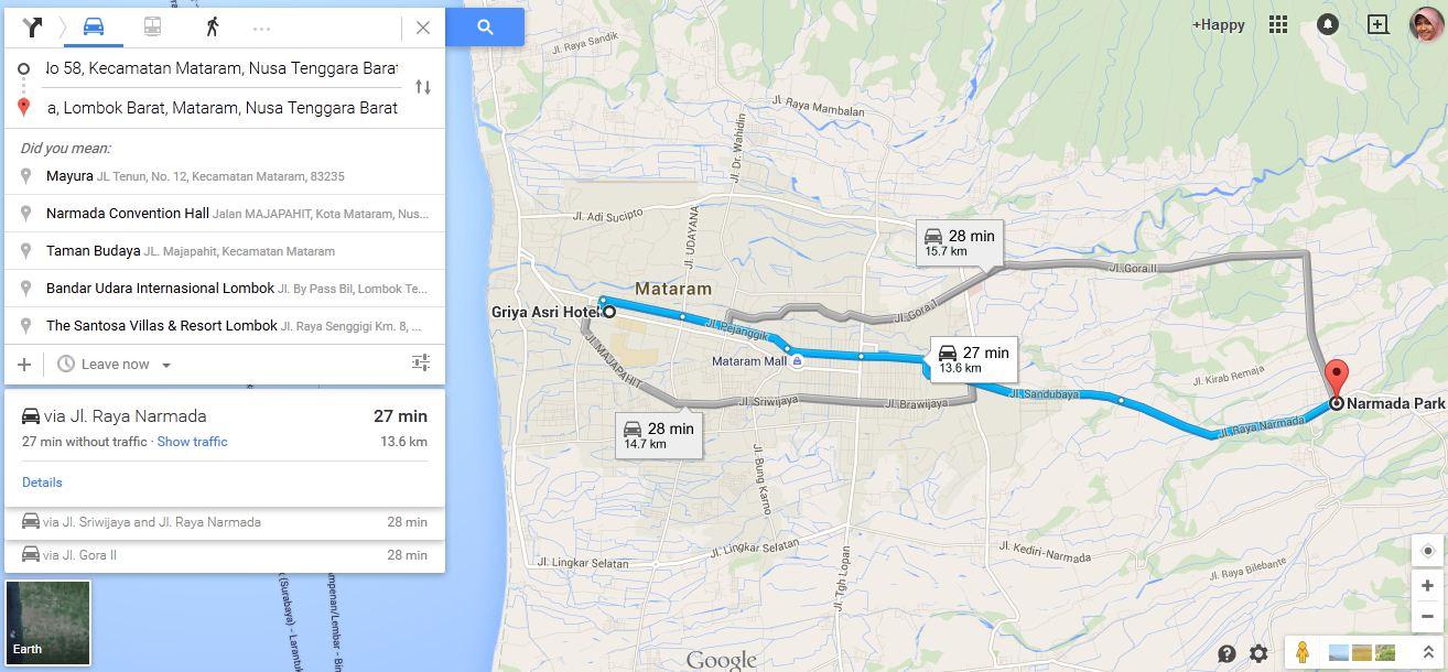 Estimasi waktu perjalanan : Griya Asri Hotel - Taman Narmada
