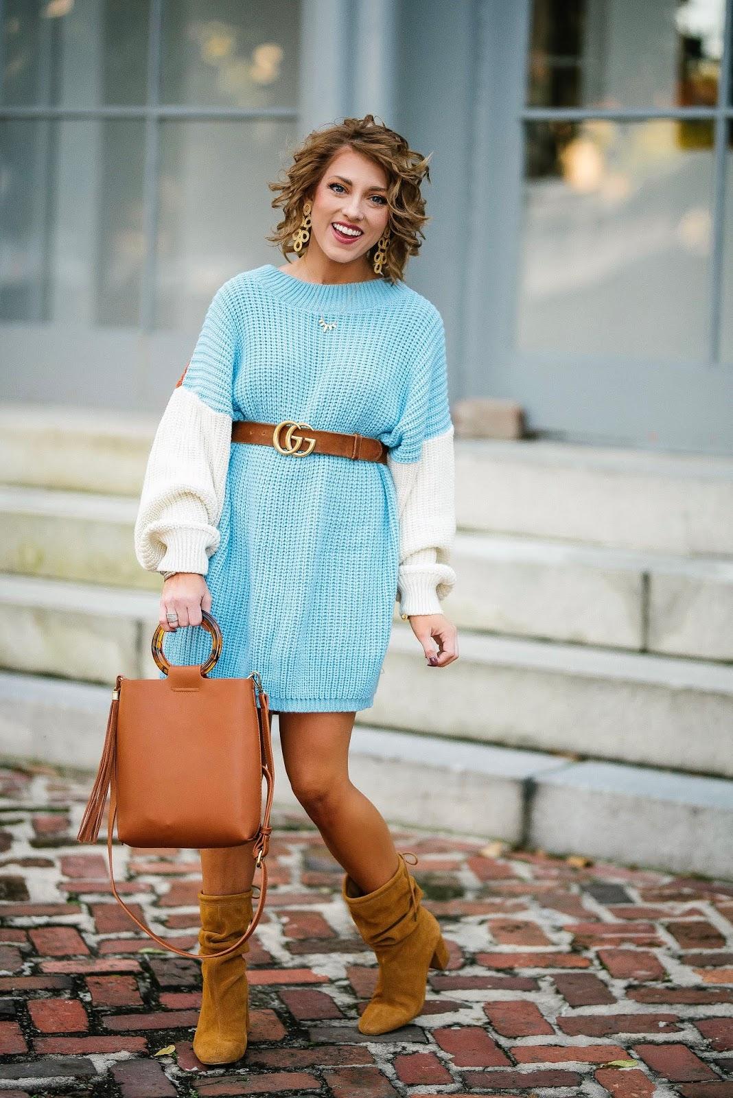 $40 Color Block Sweater Dress + Gucci Belt - Something Delightful Blog #fallfashion #fallstyle #sweaterdress