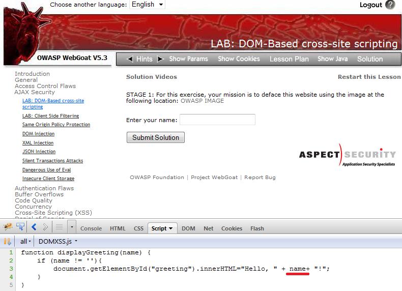 F4l13n5n0w: WebGoat - DOM Based XSS