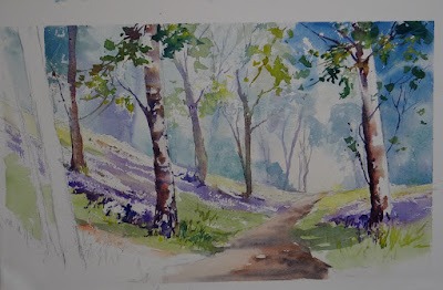 Create your own Bluebell Wood in watercolours.