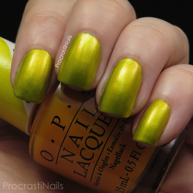 Swatch of OPI Primarily Yellow which is a sheer sunny yellow jelly polish