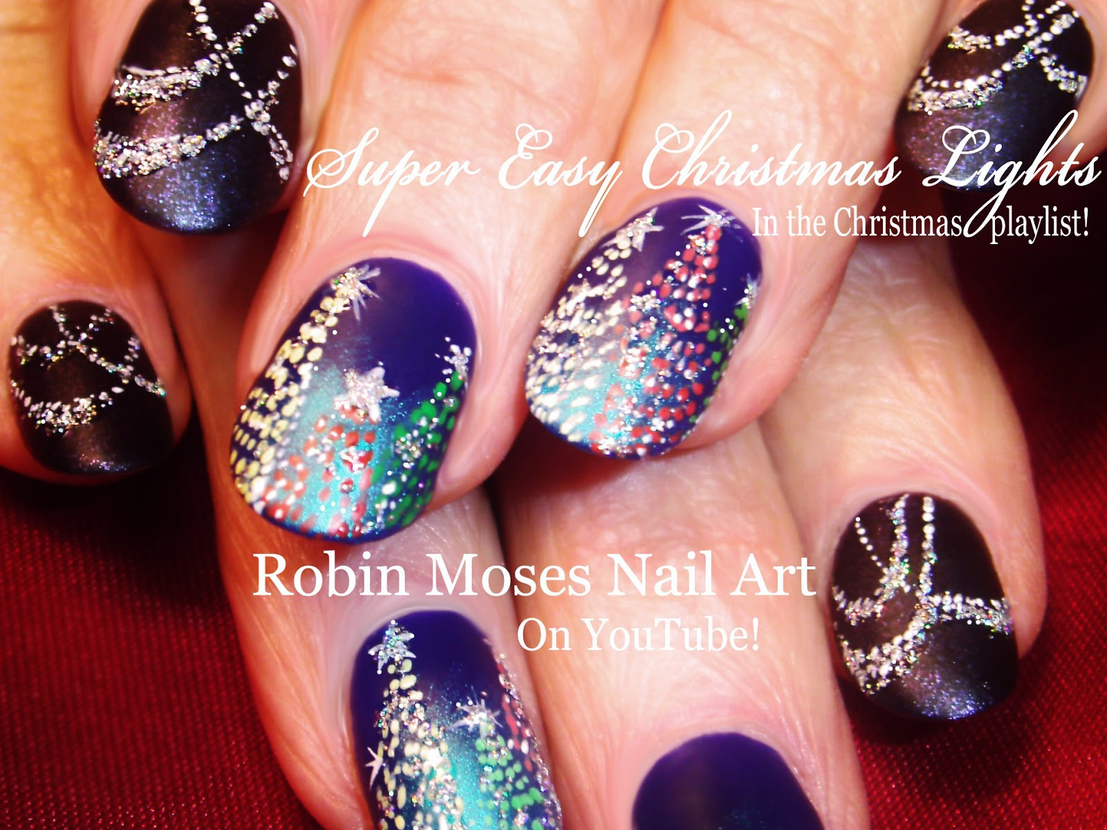 Robin Moses Nail Art: Easy Christmas Lights Nail Art