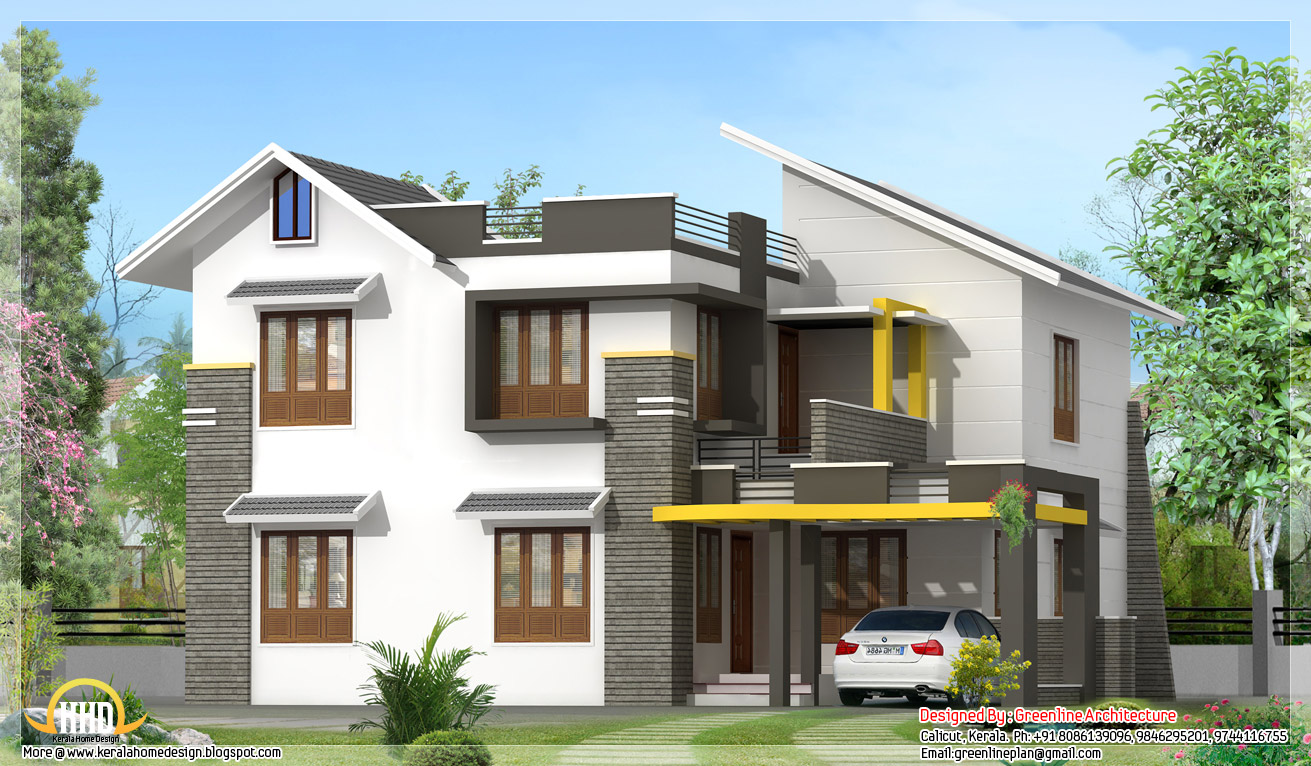 Modern contemporary 2100 sq ft villa kerala home for Villa style house plans