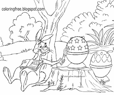 Painting eggs happy Easter bunny coloring pages for kids clipart egg printable cute rabbit drawings