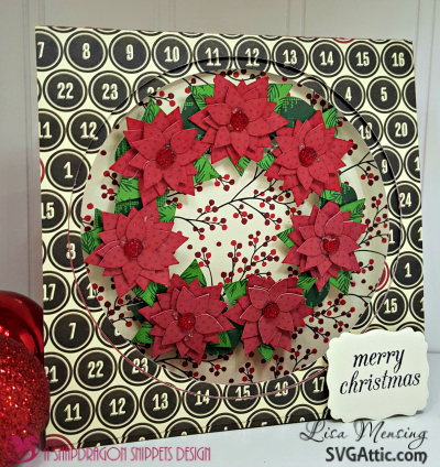 SVG Attic Tent Card and Poinsettia Wreath from Winter Wishes