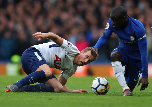 Harry Kane of Tottenham Hotspur during the Premier League match between Chelsea and Tottenham Hotspur at Stamford Bridge on April 1, 2018 in London, England.