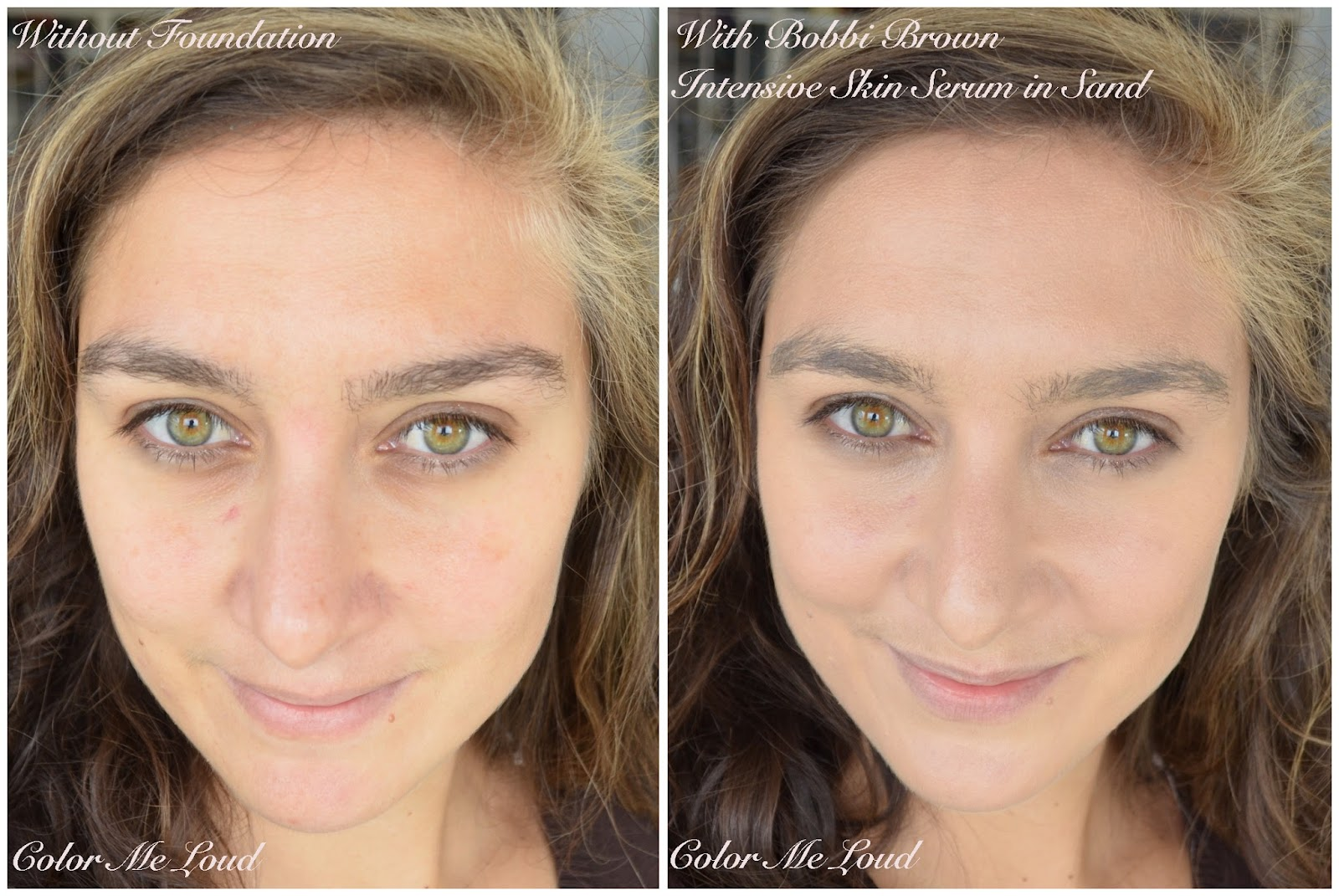aa8b756849e Before/After: Bobbi Brown Intensive Skin Serum Foundation SPF 40 in #2 Sand