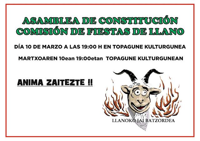 Cartel de la asamblea de la comisión de fiestas de Llano