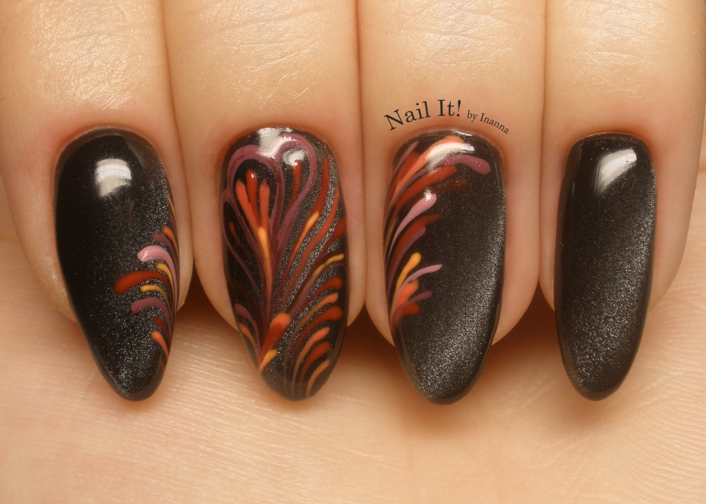 "Fireworks - Nail Art made with Indigo Cat Eye effect ""Good Night"" and ""Nail Art"" color gels (FREEHAND)"