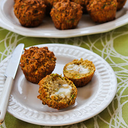 Savory Whole Wheat Zucchini Muffins Recipe with Feta, and Parmesan (plus 25 ideas for baking with zucchini!) found on KalynsKitchen.com