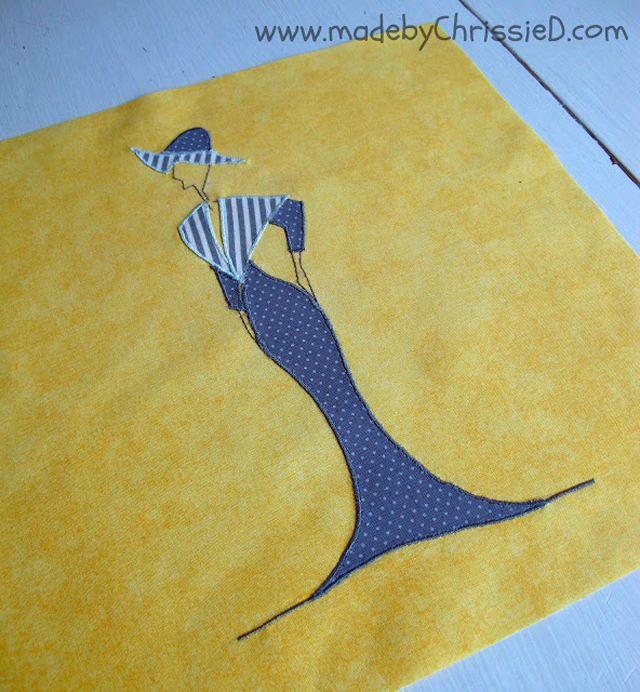 Learn how to make a modern, artsy Sunbonnet Sue appliquéd quilt block. Tutorial ~ made by ChrissieD.