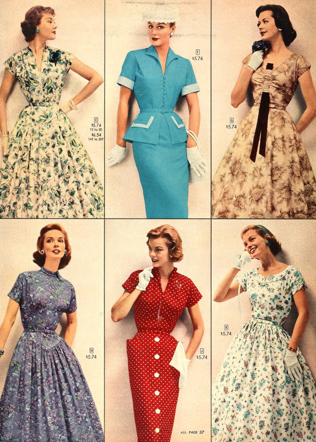 Snapped Garters: 1957 Fashions -- IN COLOUR