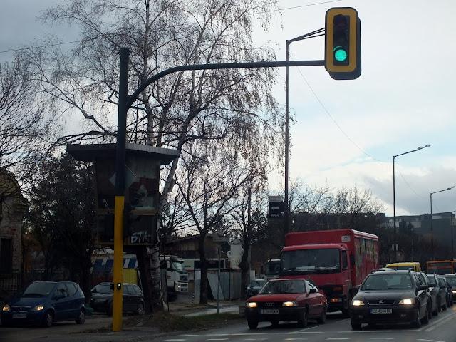 Puesto de control del tráfico en las calles de Sofia