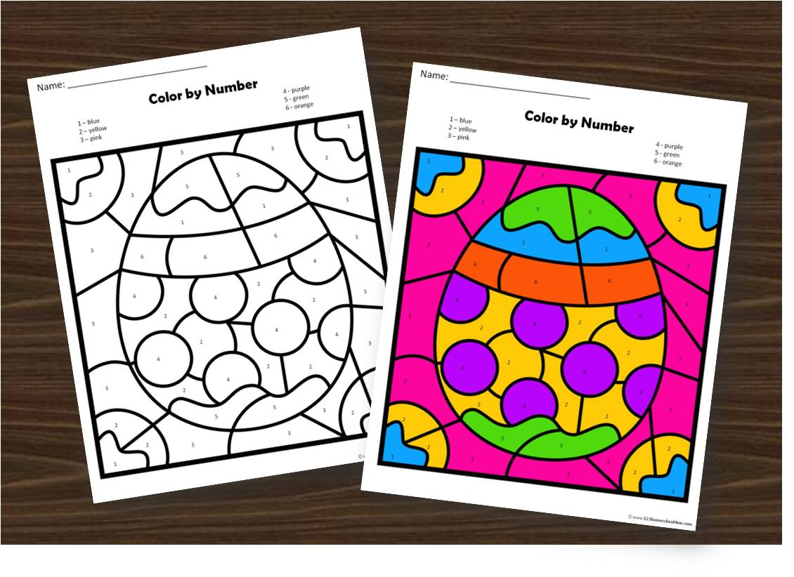Free Easter Color By Number Worksheets