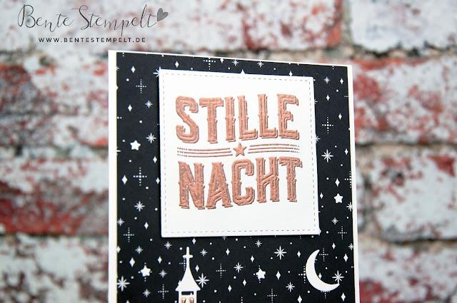 Stampin Up Wie ein Weihnachtslied Stille Nacht Weihnachten daheim Framelits Winterstädtchen Mond Sterne Kirche Dorf Häuser DSP Papier Frohes Fest Kupferfolie