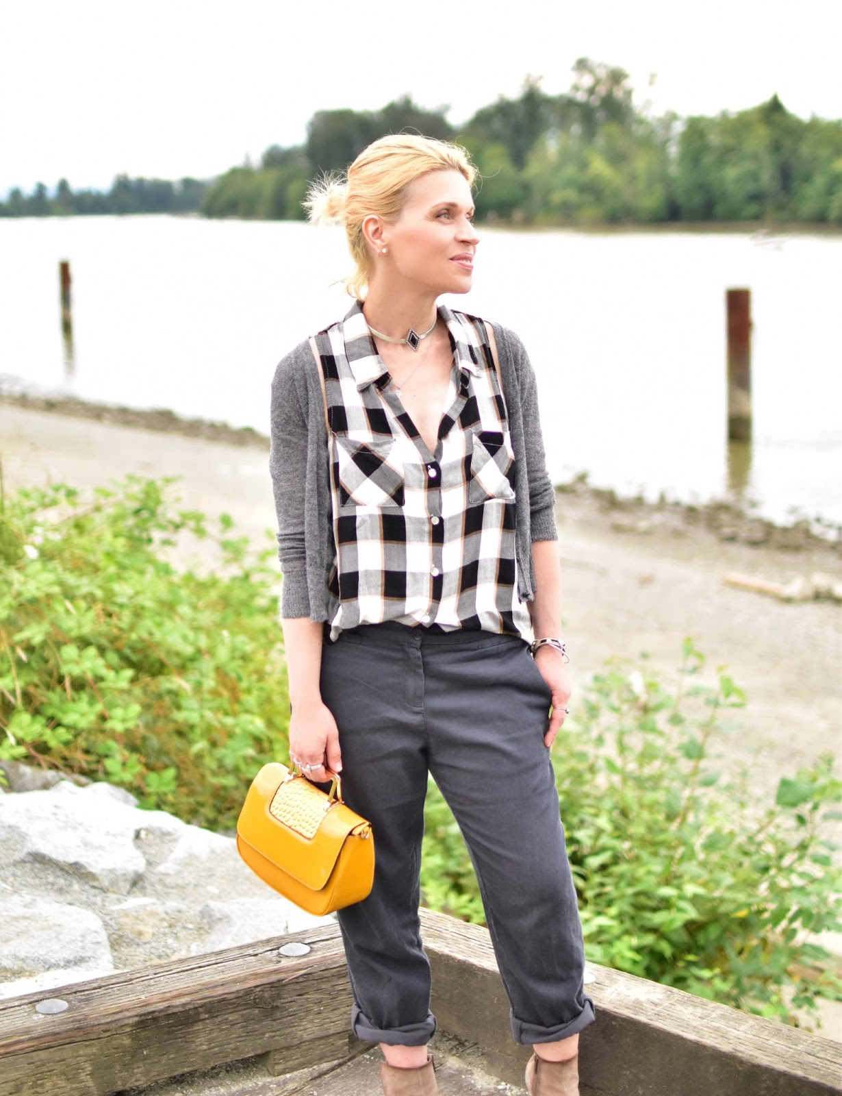 plaid button-front shirt, slouchy boyfriend trousers, cropped cardigan, patent yellow mini-bag