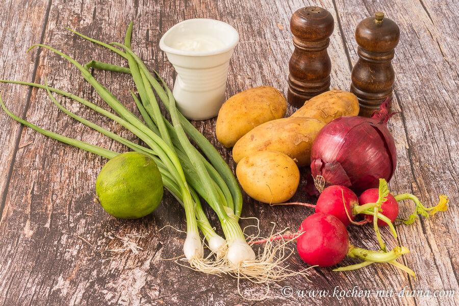 Zutaten Kartoffel-Radieschen-Salat