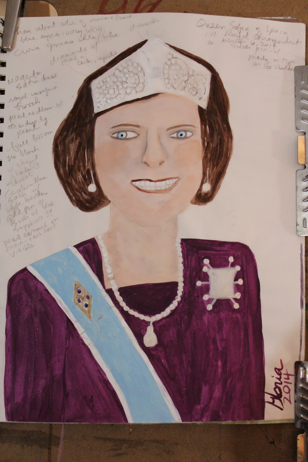 Queen Sofia of Spain sketch by Gloria Poole of Missouri, acrylics on paper, 9-Apr-2014