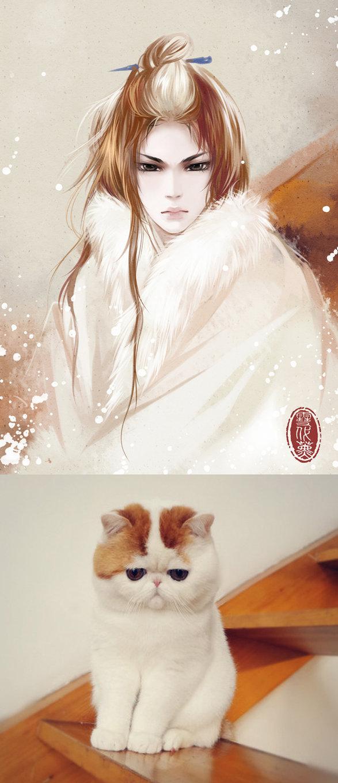 Kot narysowany jako kobieta z anime 12