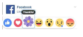 facebook reaction menu with the 'thankful' reaction