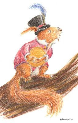 Cooper, crayons couleur, écureuil