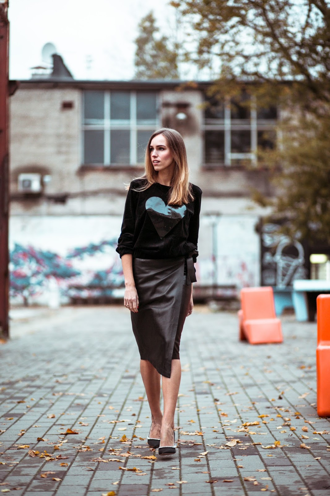 black velvet leather skirt embellished court shoes outfit