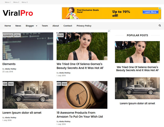Viral Pro Is A Best Photography Blogger Template Responsive Fast Loading Senic Build For Online Professionals