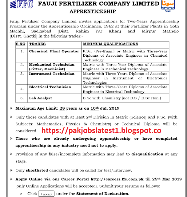 Fauji Fertilizer Company (FFC) Limited Invited Applicants For Two Years