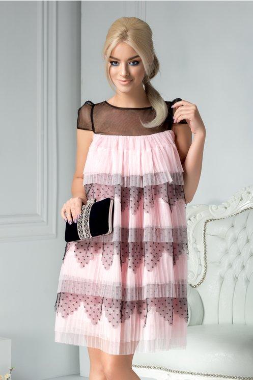 Rochie eleganta de nunta roz cu volanase de ocazie