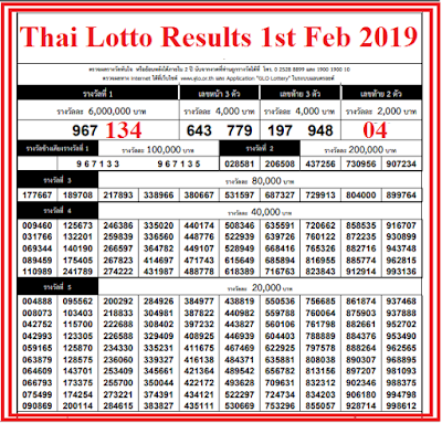 thai-lottery-result-1st-february-2019