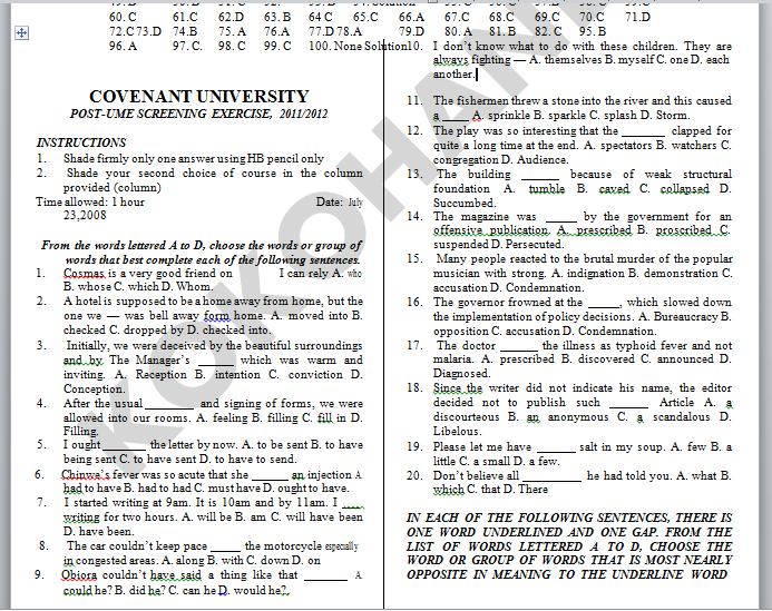covenant university cusas past questions, covenant university post utme past questions and answers,