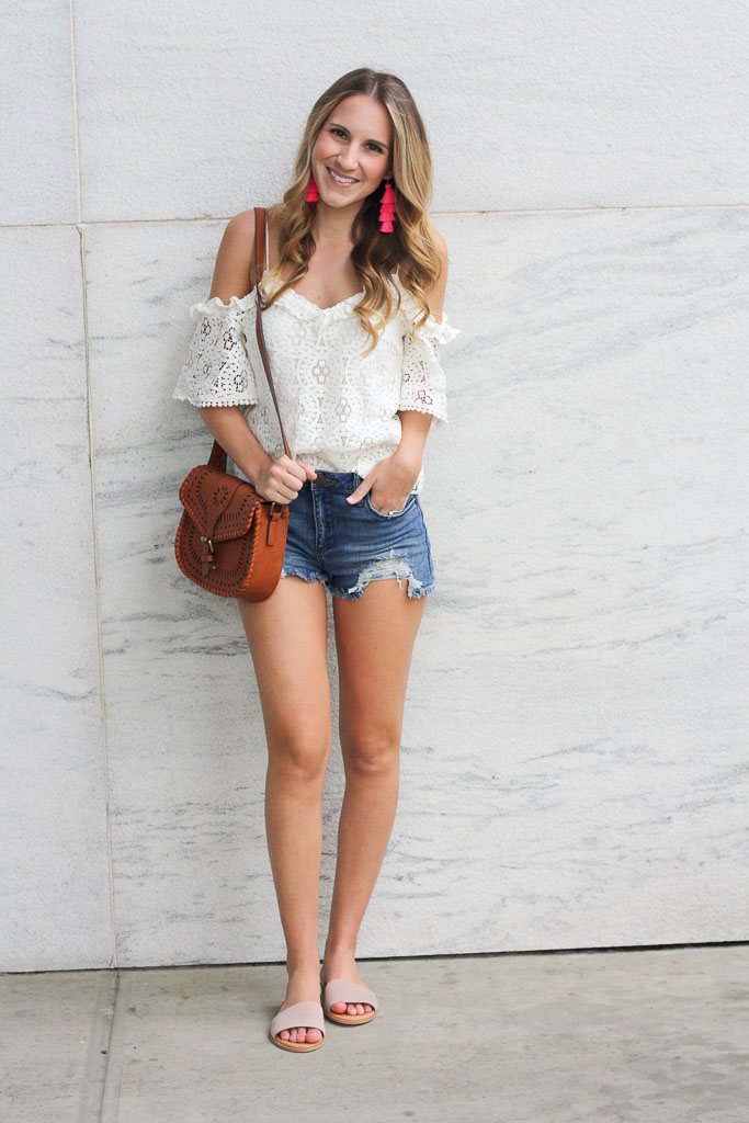 Summer Essentials - a pretty white top with under $50 denim cutoffs