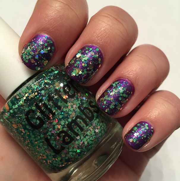 Christmas Nail Polishes for the holiday season! A green glitter topper lacquer for your nails! Custom handmade nail polish.
