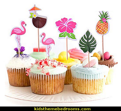 Cupcake Toppers For Hawaiian Luau Summer Flamingo birthday Parties Cake Food Decoration Supplies
