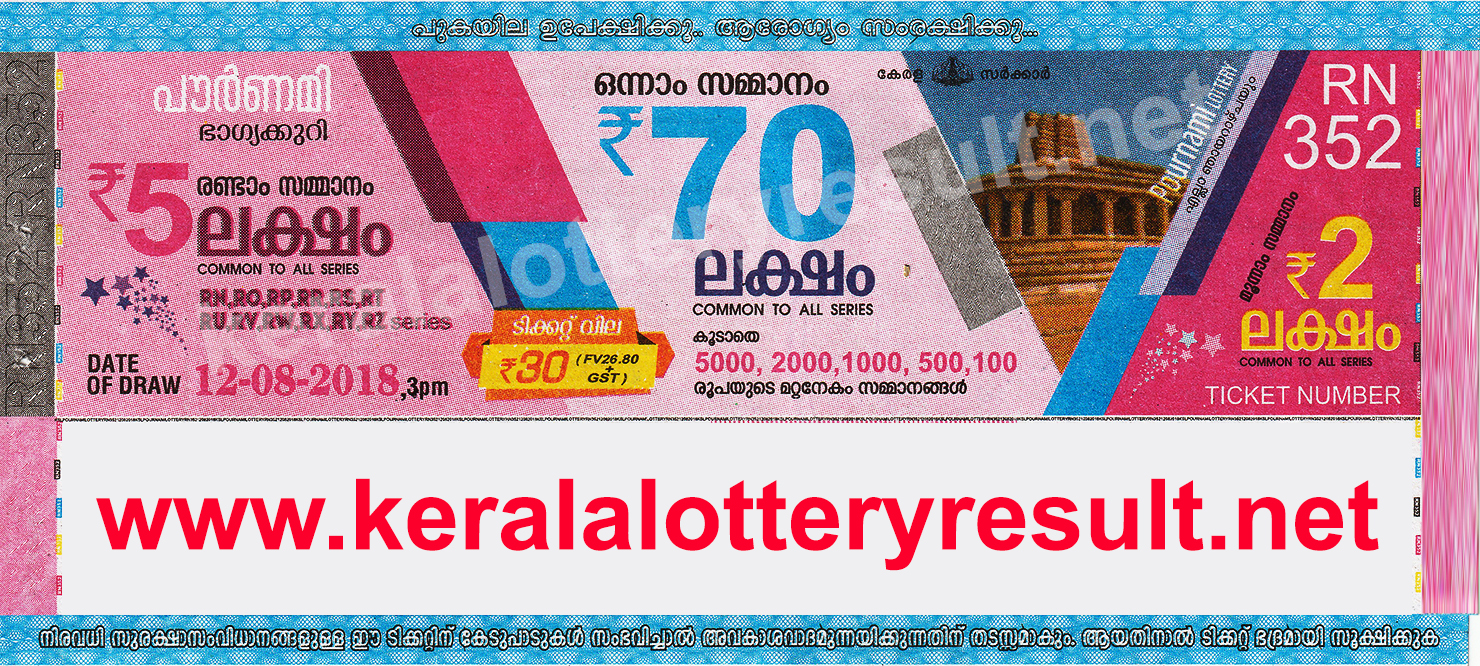 Kerala Lottery Result; 12.08.2018 Pournami Lottery Result