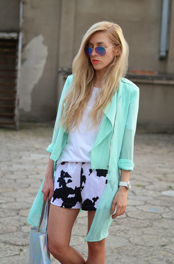MINT CHIFFON COAT, COW PRINTED SHORTS, HOLOGRAPHIC BAG & SLIP ONS