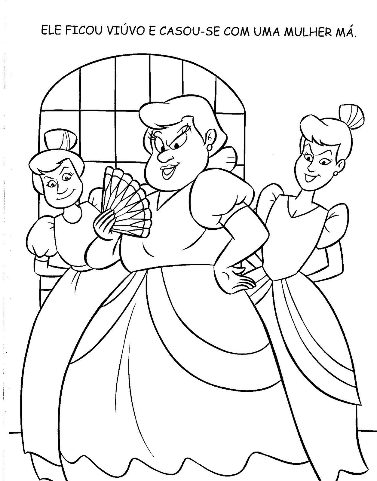 Livro De Historia Cinderela Para Colorir Pintar Imprimir
