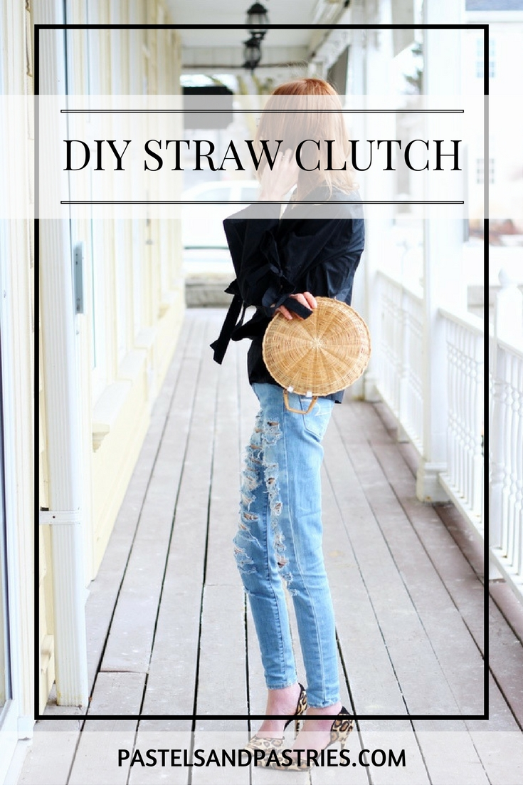 DIY STRAW CLUTCH- AEO American Eagle Denim X4 Skinny Jean, Target Who What Wear Bell Sleeve Vee, DIY woven straw clutch, Sam Edelman leopard D'Orsay Pump