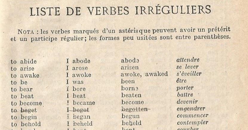 Manuels Anciens Liste De Verbes Irreguliers