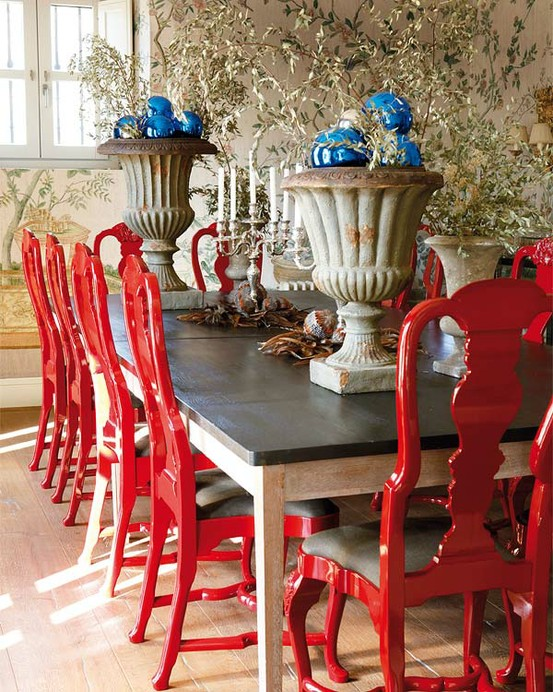 red painted dining room chairs via inspiring interiors
