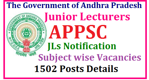 APPSC Junior Lecturer Recruitment 2017 – 1502 Junior Lecturer (JL) Posts APPSC JL Junior Lecturers Notificaion 2017 Subject Wise Vacancies 1502 Posts Details | Andhra Pradesh JL Recruitment Notification to released for 1502 Posts in various Subjects | Subject wise Junior Lecturers Vacancies Details here Notification to be released by AP State Public Service Commission soon at its official Website www.psc.ap.gov.in. Junior Lecturers Posts Telugu Hindi English Mathematics Physics Zoology Botony History Civics Econoics Commerce Computers ap-jl-junior-lecturers-recruitment-notificaion-apply-online-2017-appsc-vacancies-qualifications-syllabus-examination-pattern-important-dates-model-question-papers-hall-tickets-answer-key-results-download-www.psc.ap.gov.in Andhra Pradesh AP Junior lecturer (JL) Notification 2017 1502 Junior Lecturer vacancies | Online Application at www.psc.ap.gov.in/2017/08/ap-jl-junior-lecturers-recruitment-notificaion-apply-online-2017-appsc-vacancies-qualifications-syllabus-examination-pattern-important-dates-model-question-papers-hall-tickets-answer-key-results-download-www.psc.ap.gov.in.html