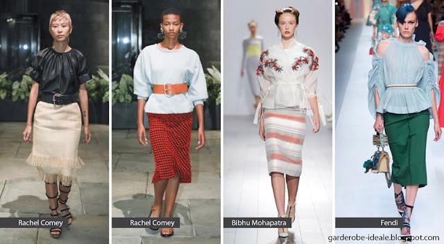Прямые юбки с ремнем на подиуме показ весна лето 2018