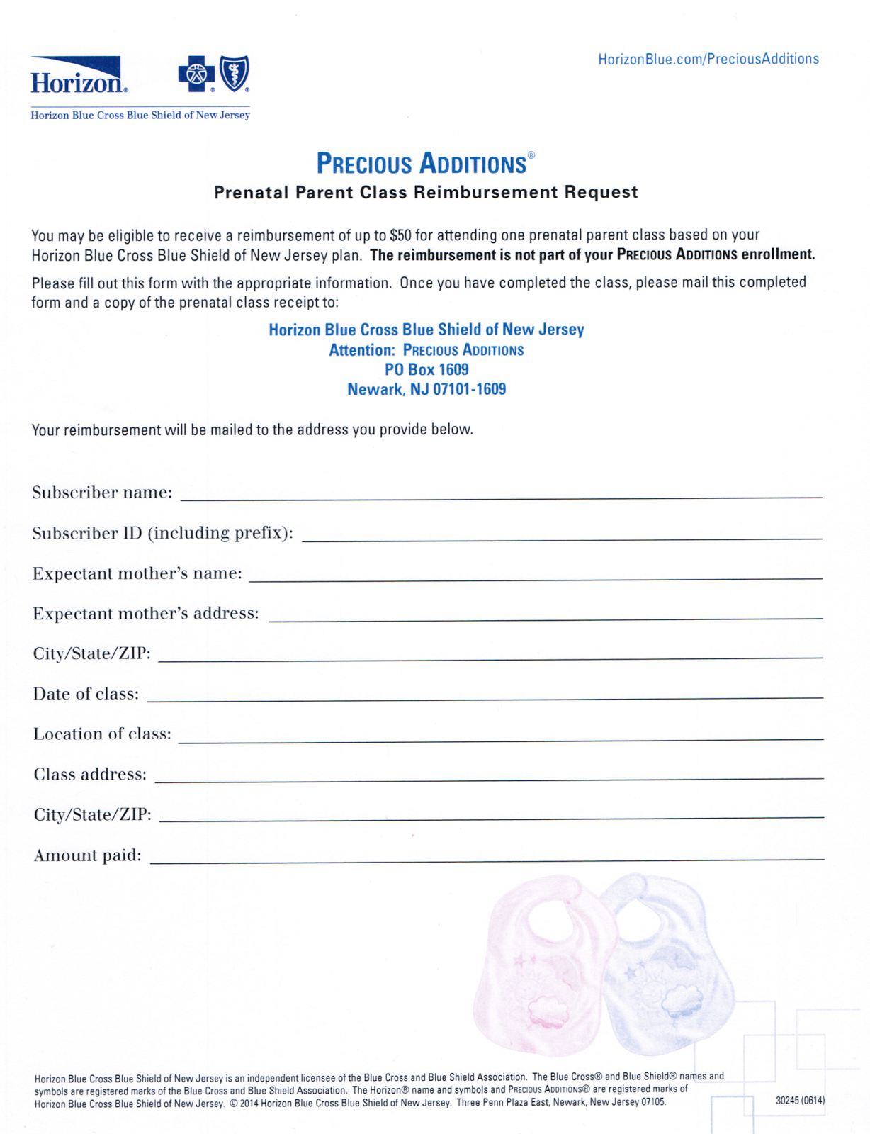 Horizon BlueCross BlueShield BCBS Precious Addition Prenatal